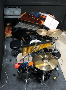 Chris's setup at the back of the pit for the first dress rehearsal of Wizard Of Oz at EHK-12